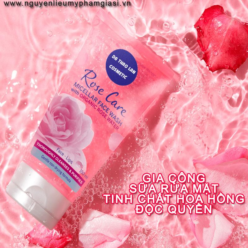 Gia công sữa rửa mặt tinh chất hoa hồng- sữa rửa mặt da dầu, da mụn